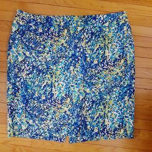 Stretch Blue Patterned Cotton Skirt Spring